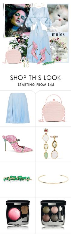 """Slip 'Em On: Mules"" by danijelapoly ❤ liked on Polyvore featuring Prada, Malone Souliers, Melissa Joy Manning, Rosantica, Jennifer Fisher, Chanel and mules"