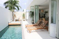 One-of-a-kind, three bedroom luxury villa located in Berawa, Canggu. A Mediterranean oasis in tropical paradise. Backyard Pool Designs, Small Backyard Pools, Small Pools, Pool Decks, Pool Landscaping, Villa Design, House Design, Design Design, House Bali