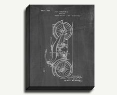 Canvas Patent Art - Harley Motor Cycle Gallery Wrapped Canvas Print