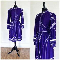 Vintage Purple And White Dress 70s 80s Abstract Secretary Dress The Kollection LTD Stripes Day Dress Geometric Design Made In USA by TempleKatVintage on Etsy