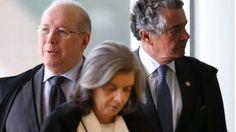 Ministros Celso de Mello, Cármen Lúcia e Luiz Fux: Decisões coletivas entre os membros do STF costumam demandar mais tempo