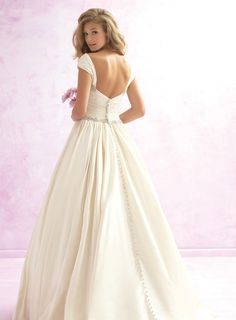 Elegant A-Line V-Neckline Floor-length Off-the-Shoulder Wedding Dresses With Beading 10990919 - Vintage Wedding Dresses - bridalup.Com