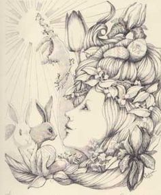 Eostar was the ancient, Germanic Goddess of the spring. Her colorful eggs are the symbols of renewed life. The magical, fertile hare, that leaps up from the fields just as the life force leaps up within us, was her sacred animal.