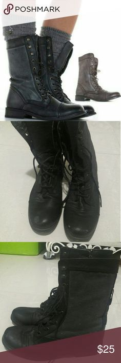 Black military combat boots Very comfy only wore twice! Other than that just been sitting in my closet. Unfortunately, too big for me:( go with everything! Sam & Libby Shoes Lace Up Boots