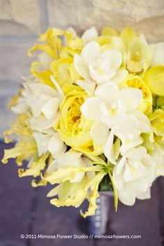 grey and yellow wedding | Yellow and White Bridal Bouquet - Closeup