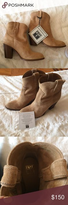 """NWT Frye Ilana Short Boot Suede -Tan New with tags Frye Ilana Short Suede Boots. 3476794-BIT. Size 7.5 brand new with tags. Never worn. Excellent condition. Short Booties. Heel is about 3.25"""" Frye Shoes Ankle Boots & Booties"""