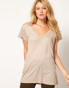 ASOS T-Shirt with Slouchy V Neck $21 - with a maxi skirt