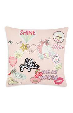 Primark - Pink Badge Cushion