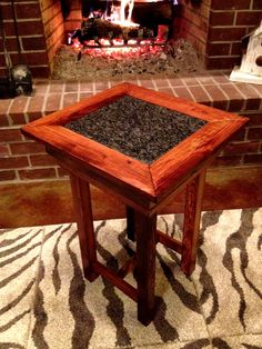 Priceless End Table! Hand-crafted by my father from 100+ year old heart pine from an abandoned warehouse in New Orleans- even has rustic exposed peg holes and nail holes. Finished with an inlaid granite top. Absolutely Incredible!