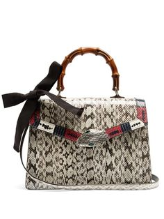 GUCCI Lilith Medium Bamboo-Handle Snakeskin Bag. #gucci #bags #shoulder bags #hand bags #lining #leather #crystal #