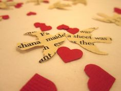 Book Page Bird Confetti & Red Mini Heart Confetti // Vintage Wedding
