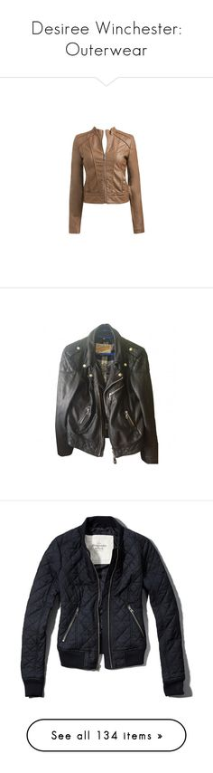 """Desiree Winchester: Outerwear"" by nerdbucket ❤ liked on Polyvore featuring outerwear, jackets, tops, coats, chaquetas, pu leather jacket, brown pleather jacket, pleather jacket, brown jacket and arden b jackets"