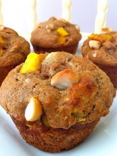 Mango Macadamia Muffins -- healthy, whole grain, low sugar and so yummy!