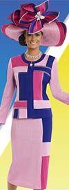 Donna Vinci Knits 13181 Womens Color Block Design Knit Skirt Suit
