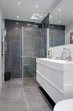 New Bath Room Tiles Shower Marble 22 Ideas Bathroom Glass Wall, White Vanity Bathroom, Bathroom Renos, Bathroom Interior, Bathroom Lighting, Bathroom Ideas, Vanity Lighting, Bathroom Photos, Bathroom Shelves