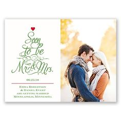 Beautiful Christmas-themed save the date card