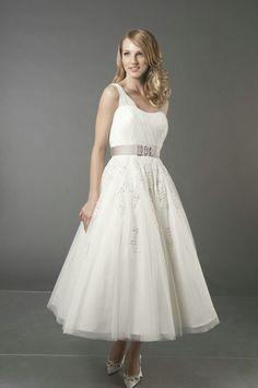 tulle over satin tea length wedding dress