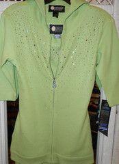 Christine Alexander Island Green hoodie w/ ab crystal scatter