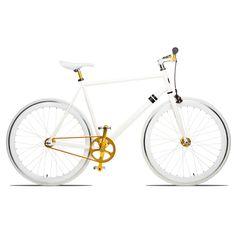 White and gold bike