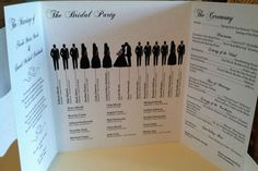 silhouette wedding program @Kira Kira Kira Renee'   Cute idea.  Wait, a wedding program? Really?