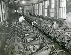 The Indian Motorcycles factory in 1941.