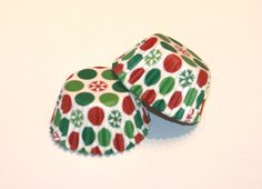 24 Snowflake Polka Dot Mini Cupcake Liners Party Christmas Red and Green Mini Baking Cups Mini Muffins Holiday Party Supplies Treats Gifts
