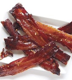 Spicy Candied Bacon ~ What makes this the perfect Easter bacon? It's like spicy bacon candy. It's great on its own as an appetizer, chopped into a salad, or even on your Baked Beans!   What2Cook