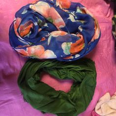 Infinity Scarf Bundle floral one from Charlotte Russe green one I can't remember where purchased but both only worn once in good condition perfect for fall! Charlotte Russe Accessories