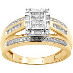 1/2 Carat T.W. Baguette, Princess and Round Diamond 10kt Yellow Gold Engagement Ring