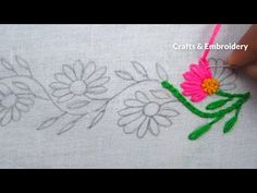 Hand Embroidery, Easy Border Line Embroidery, Lazy Daisy Stitch – hand embroidery Border Embroidery Designs, Hand Embroidery Videos, Embroidery Stitches Tutorial, Hand Work Embroidery, Hand Embroidery Patterns, Diy Embroidery, Embroidery Techniques, Cross Stitch Embroidery, Machine Embroidery Designs