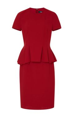 Paule Ka's dress is designed with a peplum that flatters the hips and waist. Rendered in a striking red hue, this style is crafted from tactile crepe. Complete a sleek look with sandals and a tote.