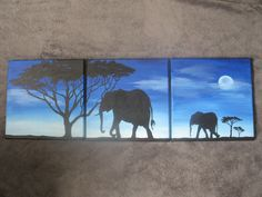 Elephant Safari Sunrise- Original Painted Silhouettes - Colorful Modern Wall Art by Bethany Sullivan