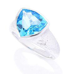 143-987 - Gem Insider™ Sterling Silver Trillion Gemstone Hammered Ring