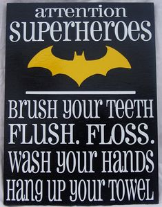 Attention Superheroes (Batman) bathroom rules wood siign on Etsy, Batman Bathroom, Superhero Bathroom, Superhero Room, Bathroom Rules, Bathroom Kids, Bathrooms, Batman Room, Nananana Batman, Boy Art