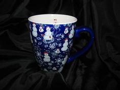Starbucks Barista Coffee Mug Cup Blue Snowman Snowflakes Big 16 oz 2003 RARE $29.99   eBay