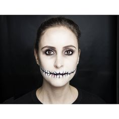Halloween how-to Stitched mouth makeup ❤ liked on Polyvore featuring makeup, halloween and pictures