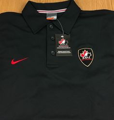 Team Canada Hockey Nike Bauer Dri-Fit Men's Polo Shirt Black NEW Size Large NWT #NikeBauer