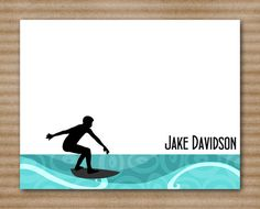 Surfer Note Cards / Notecards / Thank You / by PaperHouseDesigns, $12.50