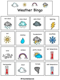 Looking for a Printable Weather Chart For Toddlers. We have Printable Weather Chart For Toddlers and the other about Printable Chart it free. Teaching Weather, Weather Vocabulary, Preschool Weather, Weather Crafts, Weather Activities, Weather For Kids, Weather Unit, English Games For Kids, English Activities