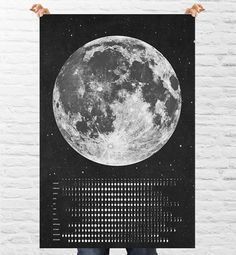 2014 Moon Phases Chalk board Calendar  - Instant Download Print Ready - Massive 30x20 Size - Northern Hemisphere on Etsy, £4.98