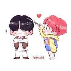 S o p e  a l  1 0 0 Bts Drawings, Cartoon Drawings, You Are My Moon, Jung Hoseok, Chibi Maker, Cute Kiss, Cute Chibi, Kpop Fanart, Pokemon