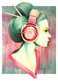"""thepolychromeattic: """"  Geisha Headphones by Lauren Lang """""""