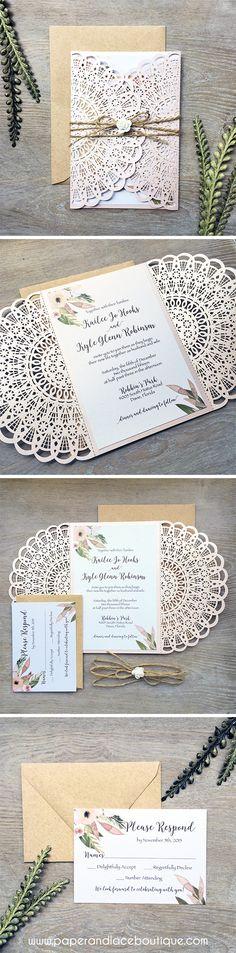 Blush Laser Cut Wedding Invitation with Kraft Envelopes and Twine