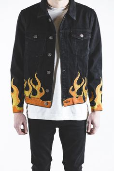 Embellish Nouveau Collab Black denim jacket Premium embroidered flames on  sleeves on bottom of body Button
