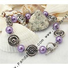 Fashion Bracelets, with Glass Pearl Beads