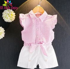 Sleeveless Striped Bowknot Shirt + White Shorts Set
