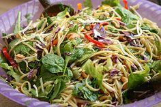 This noodle salad with Asian dressing is a great way to fill up on greens without spending too much time over a hot stove, perfect for summertime dinners. Asian Recipes, Healthy Recipes, Pioneer Woman Recipes, Pioneer Women, Clean Eating, Healthy Eating, Asian Noodles, Noodle Salad, Pasta Salad