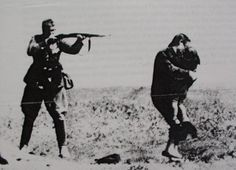 In one of the most infamous pictures of WWII, a member of the SS prepares to shoot a Jewish woman with her back to him, desperate to protect her child. A single bullet from his rifle was sufficient for both at such intimate range. I have read anecdotes that the shooter - a Hungarian Auxiliary - was drunk when he did this, and upon sobering up, was so horrified at his deed that he committed suicide. I feel no compassion for him.