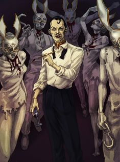 Cohen and his plaster bunnies, I dunt really know this character. But he seems evil... And kinda kewl -Will