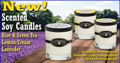 THEY'RE HERE!! Watkins New Soy Candles in Aloe and Green Tea,Lavender, and Lemon Cream scents! These candles make great gifts on their own or paired with our lotions, hand creams, body washes, and hand soaps.  Click the Cinnamon on http://www.respectedhomebusiness.com/532584
